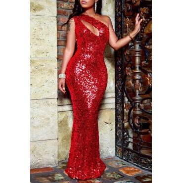 Lovely Elegant Hollowed-out Sequined Floor Length Dress