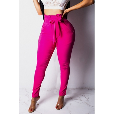 Lovely Chic Lace-up Rose Red Pants