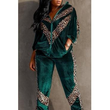 Lovely Trendy Leopard  Green Two-piece Pants Set