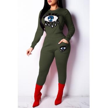 Conjunto De Calças De Duas Peças Verde Decorativo Adorável Lantejoulas Na Moda