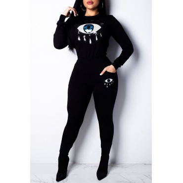 Lovely Trendy Sequined Decorative Black Two-piece Pants Set