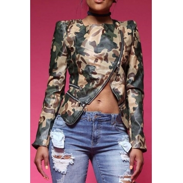 Lovely Chic Camouflage  Leather Coat