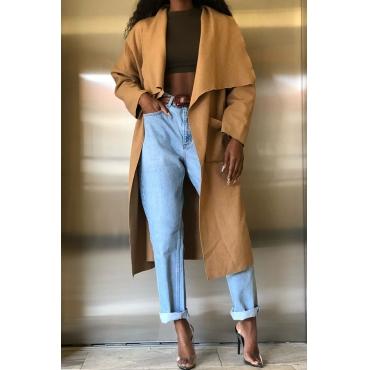 Lovely Casual  Pockets Khaki  Coat