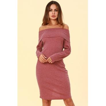 Lovely Work Dew Shoulder Wine Red Cotton Mid Calf Dress