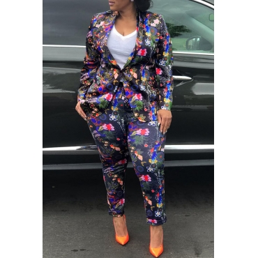 Lovely Trendy Floral Printed Black Twilled Satin Two-piece Pants Set