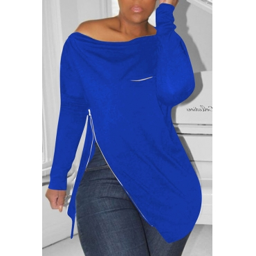 Lovely Casual Irregular Zipper Royal Blue Hoodies