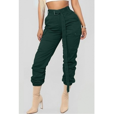 Lovely Trendy Lace-up Green Pants