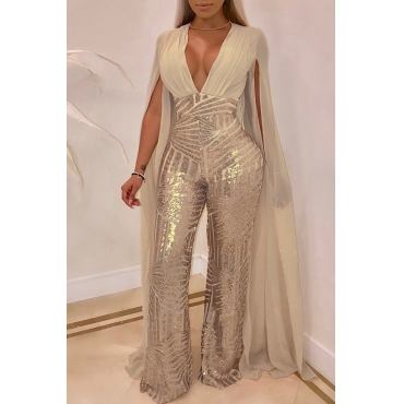 Lovely Trendy Sequined Apricot Blending One-piece Jumpsuit