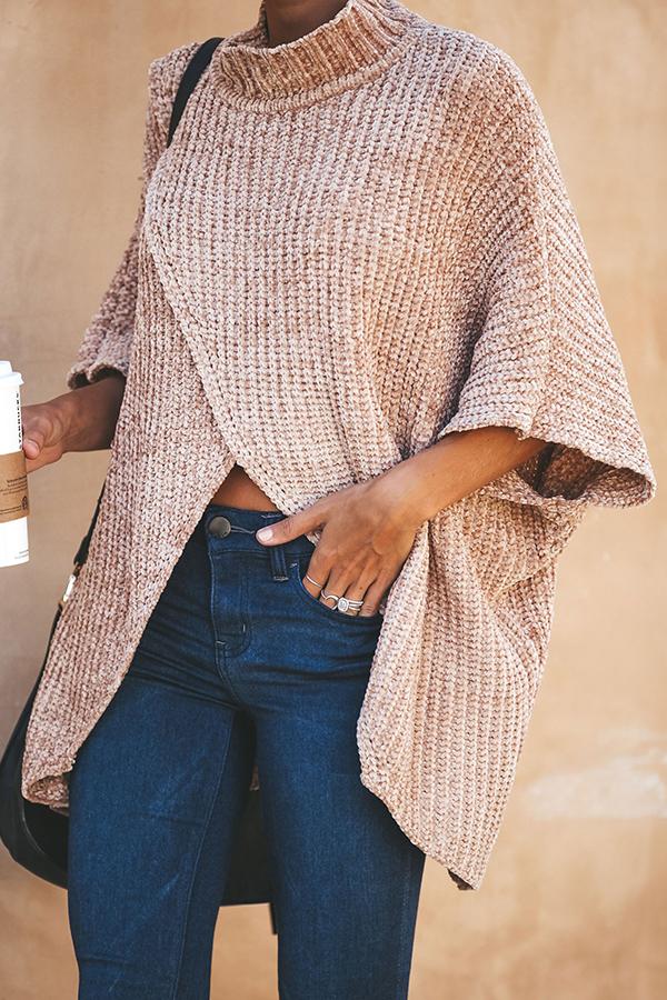 Lovely Casual Asymmetrical Loose Khaki Cotton Blen