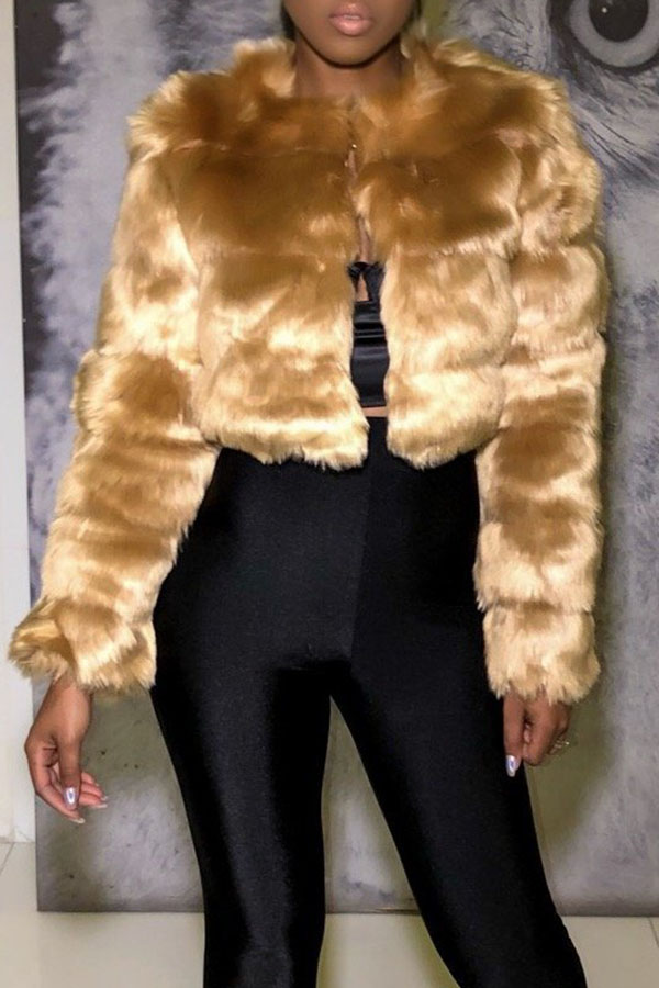Lovely Sweet Patchwork Gold Faux Fur Jacket