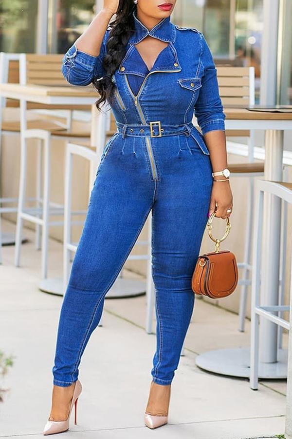 Lovely Casual  Zipper Design Blue Denim  One-piece Jumpsuit