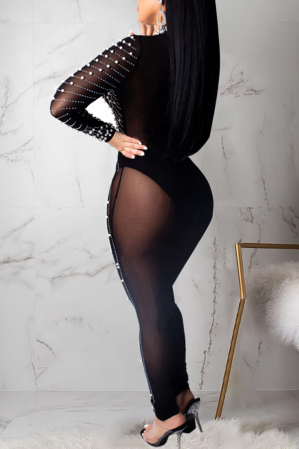 Lovely Sexy See-through Black Gauze One-piece Jumpsuit