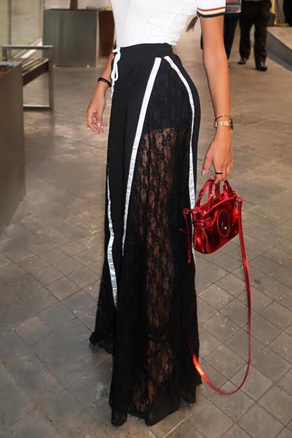 Lovely Casual Patchwork Black Blending  Pants