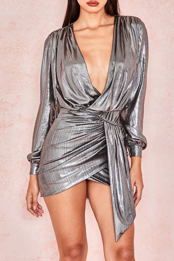 Lovely Trendy Puffed Sleeves Silver Mini  Dress