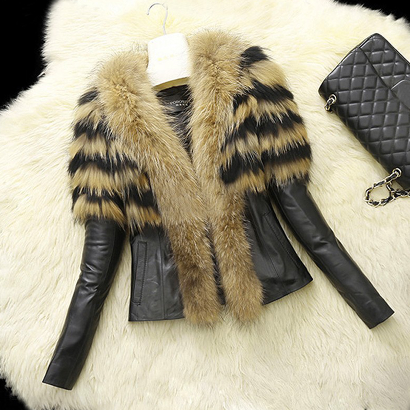 Lovely Fashion Patchwork Long Sleeves Yellow Faux Fur Coat