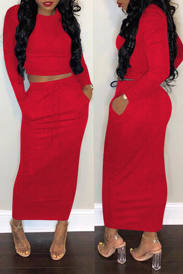 Lovely Casual Long Sleeves Red Cotton Two-piece Skirt Set