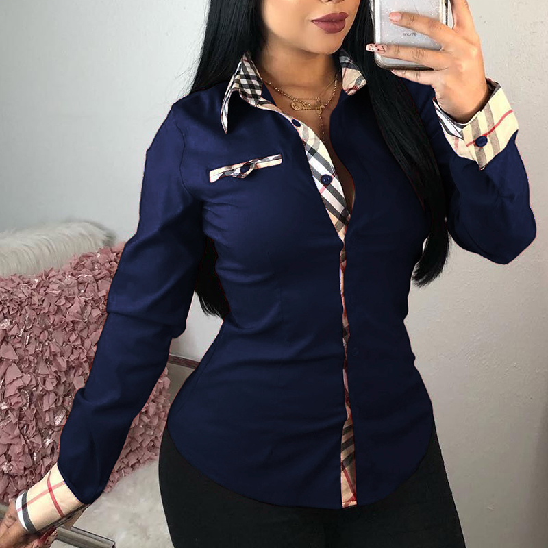 Blouses&Shirts Lovely Casual Patchwork Royal Blue Cotton Shirts фото