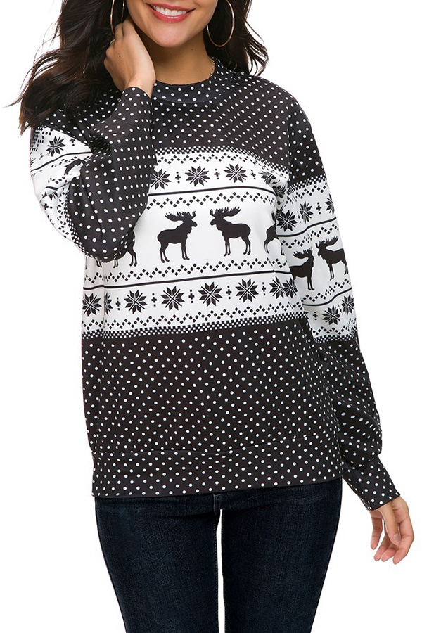 Lovely Casual Animal Printed Long Sleeves Black T-shirt