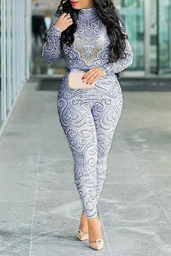 Lovely Sexy Hollowed-out Multicolor One-piece Jumpsuit