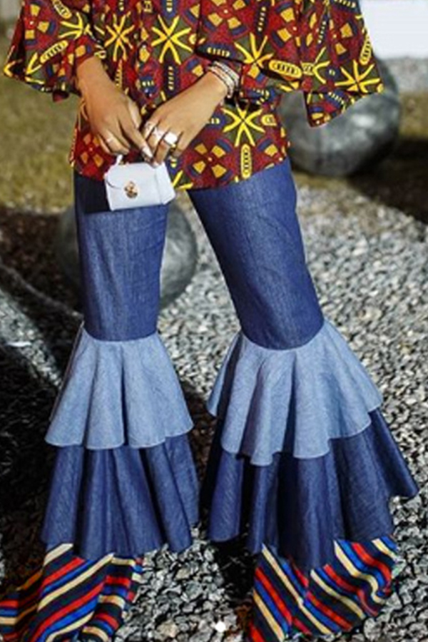 Lovely Casual Layered Flounce Design Blue Denim  Jeans