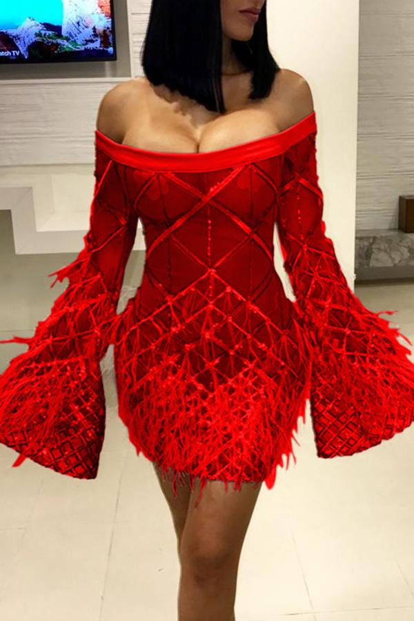 Lovely Trendy Trumpet Sleeves Red Blending Mini Dress