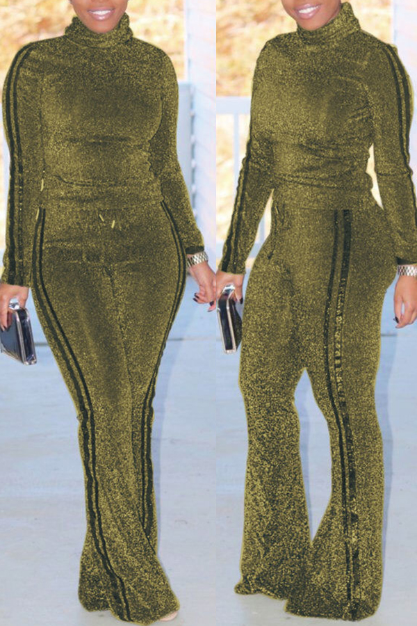 Lovely Trendy Striped Gold Blending Two-piece Pants Set