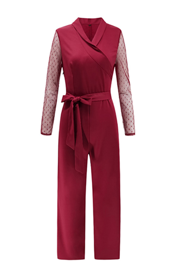 lovelywholesale / Lovely Casual Patchwork  Wine Red Blending One-piece Jumpsuit