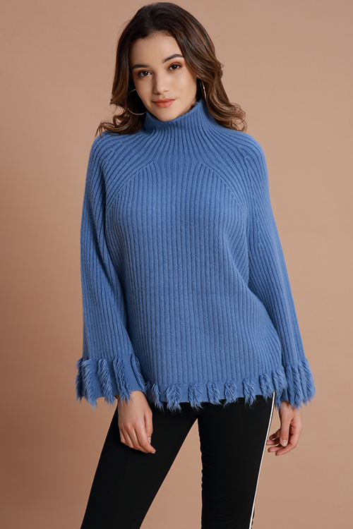Lovely Casual Tassel Design Blue Sweaters