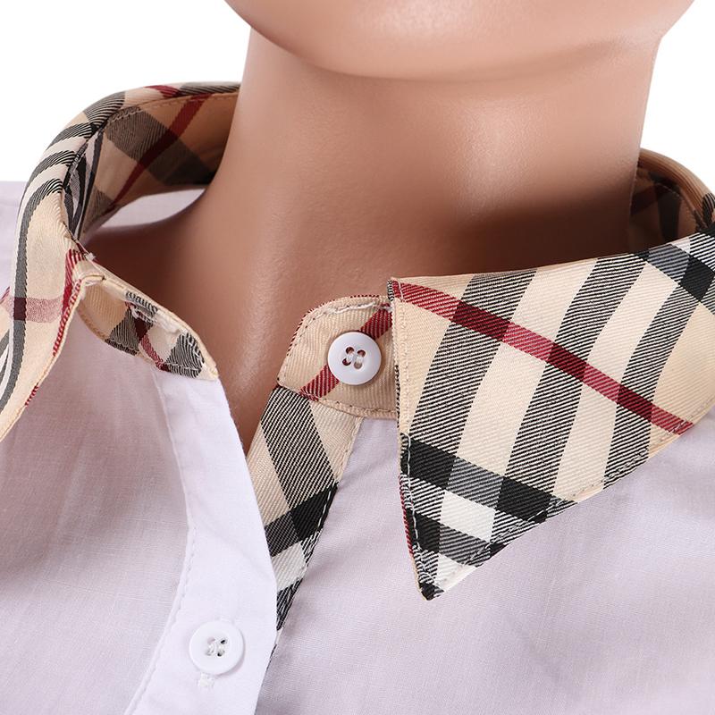 Camisas De Algodón Blanco Precioso Patchwork Informal
