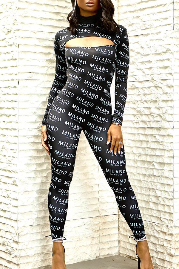 Lovely Trendy Hollowed-out Black One-piece Jumpsuit