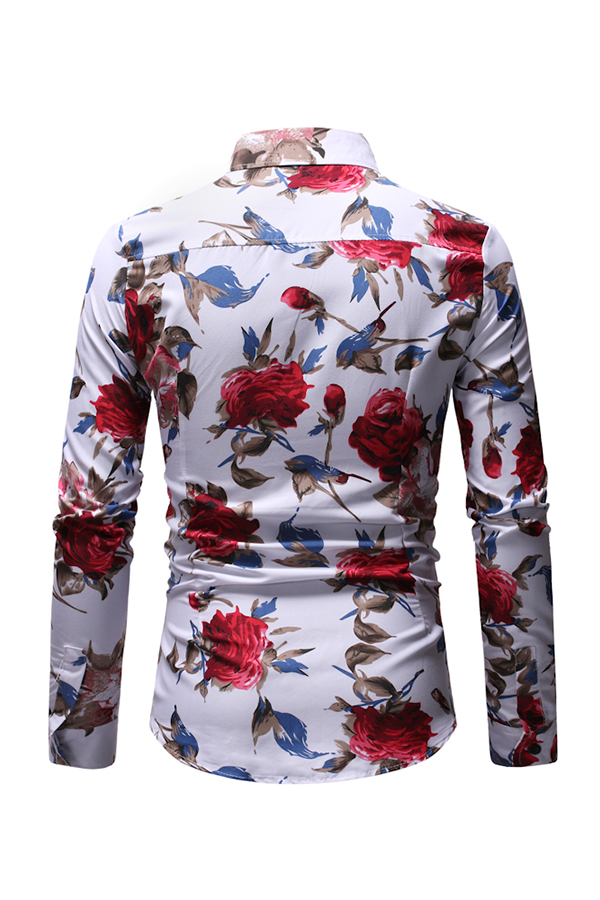 Lovely Casual Floral Printed White Cotton Shirt
