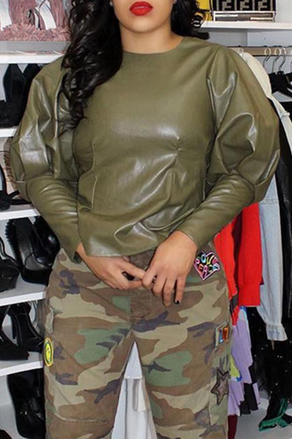 Camisas De PU Verde Militar Encantadas Casuales Puffed Mangas