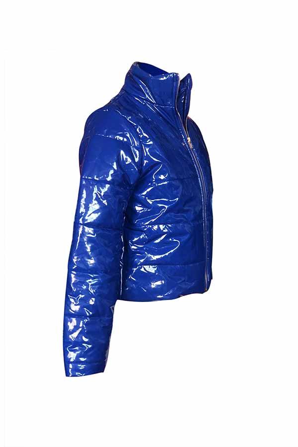 Encantadora Cremallera Casual Diseño Azul Royal Parkas