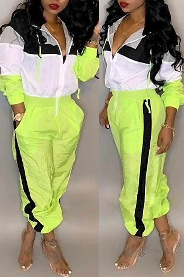 Lovely Casual Patchwork Green One-piece Jumpsuit