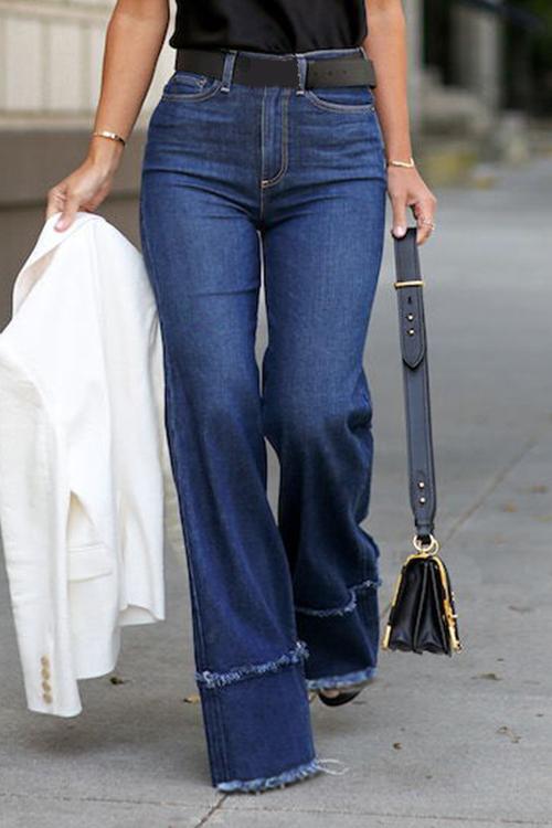 Lovely Casual Loose Dark Blue Denim Jeans