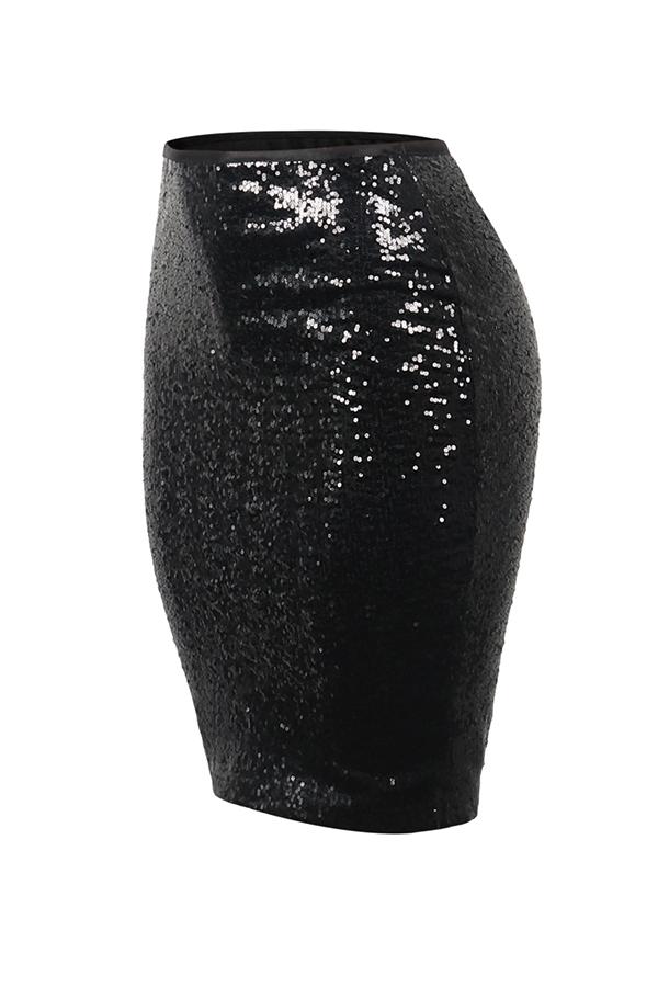 Faldas Largas Hasta La Rodilla Con Lentejuelas Negras Preciosas A La Moda