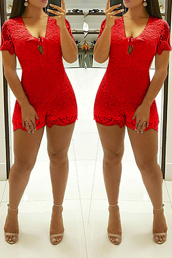 Lovely Casual Hollowed-out Red Lace One-piece Rompers