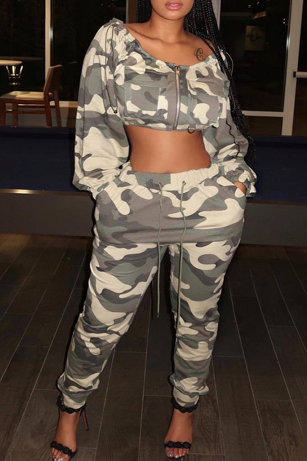 Lovely Trendy Camouflage Printed Twilled Satin Two-piece Pants Set