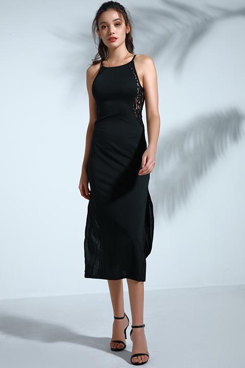 Lovely Vintage Slit Black Mid Calf Dressdresseslovelywholesale