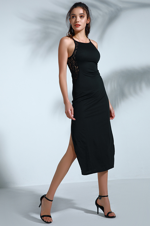 Lovely Vintage Slit Black Mid Calf Dress
