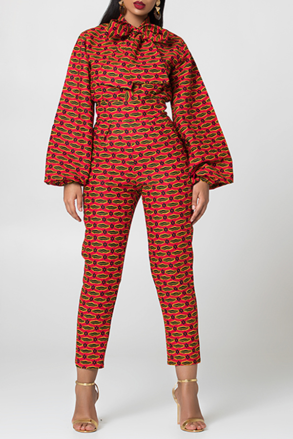 Lovely Casual Bow-Tie Decorative Red One-piece Jumpsuit