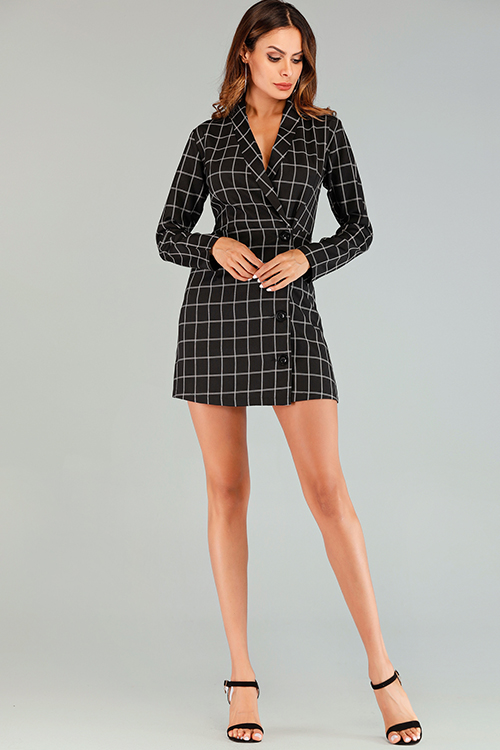 Lovely Work Grids Printed Black And White Mini Dress