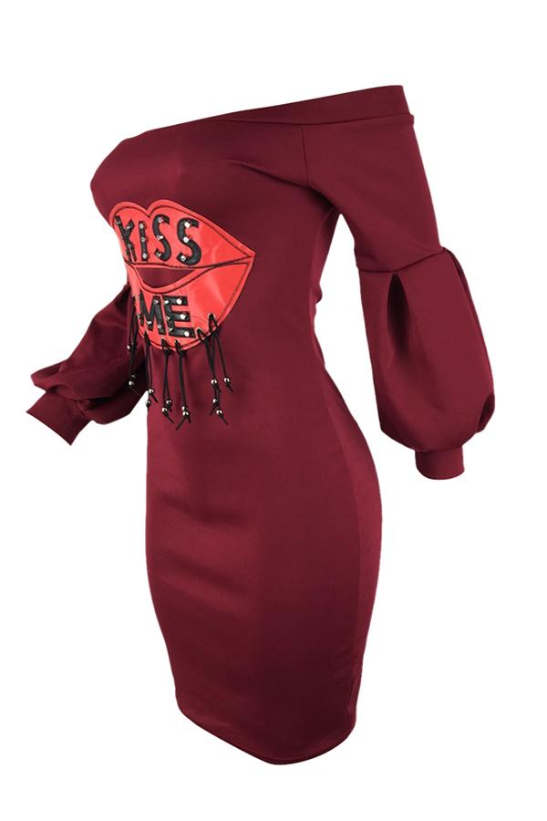 Lovely Trendy Dew Shoulder Wine Red Blending  Knee Length Dress