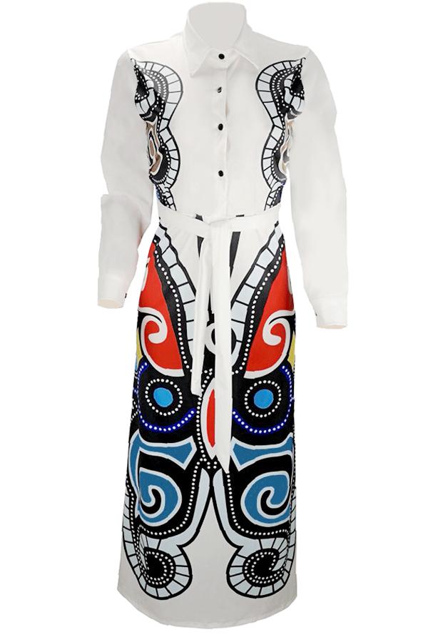 Vestido Largo Y Suelto Con Estampado Informal, Suelto Y Encantador