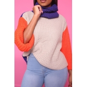 Lovely Casual Patchwork Apricot Blending Sweaters