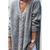 Lovely  Casual Long Sleeves Grey Knitting  Sweater