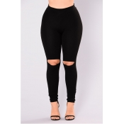 Lovely Casual  Hollowed-out Skinny Black Pants