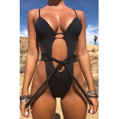 Lovely Sexy Lace-up Black One-piece Swimwears