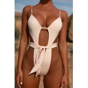 Lovely Sexy Lace-up White One-piece Swimwears