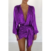 Lovely Trendy Puffed Sleeves Purple Mini  Dress
